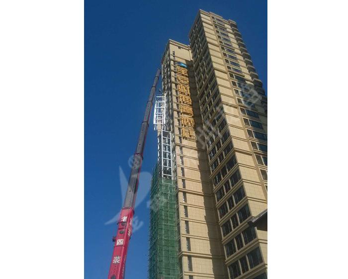 惠东宝安地产虹海湾酒店96米高垂直电梯井钢结构工程
